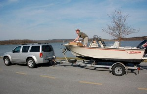 Boston Whaler 16SL getting prepped for launch